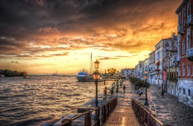 Beautiful sunset in the sea shore of a Mediterranean sea, Venice