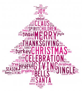 Christmas tree word clouds in white background with pink words