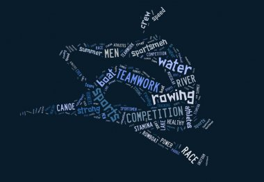 Rowing boat pictogram on blue background