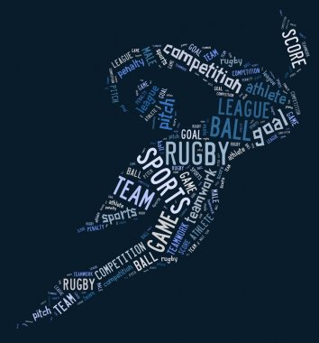 rugby football pictogram with blue wordings