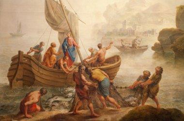 GENT - JUNE 23: Paint of miracle fishing from st. Peter s church by Pieter Norbert van Reysschoot on June 23, 2012 in Gent, Belgium.