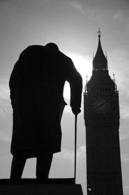 London - Winston Churchill statue and Big Ben