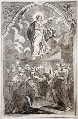 SLOVAKIA - 1727: Jesus ascension. Lithography print in Missale romanum published by Augustae Vindelicorum in year 1727.