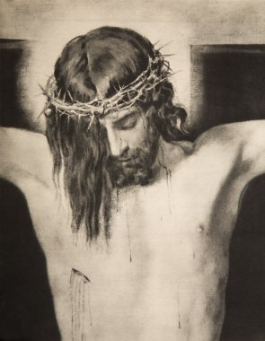 Jesus on the cross - lithography by Velasquez