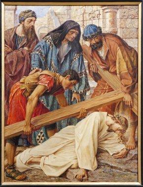 GENT - JUNE 23: Jesus fall under cross in st. Peter s church by Rene de Cramer from year 1917 on June 23, 2012 in Gent, Belgium.