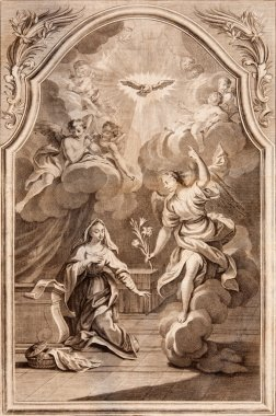 SLOVAKIA - 1768: Annuntiation. Archangel Gabriel and Virgin Mary. Lithography print in Missale romanum published in year 1768.