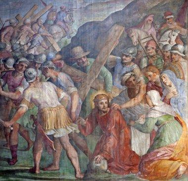 Rome - Jesus Christ under cross - freco t from Santa Prassede church