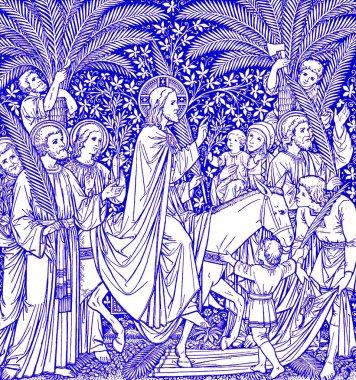 Palm Sundy scene in blue - old catholic liturgy book