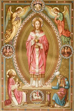 Jesus Christ and mass - old catholic lithurgy book