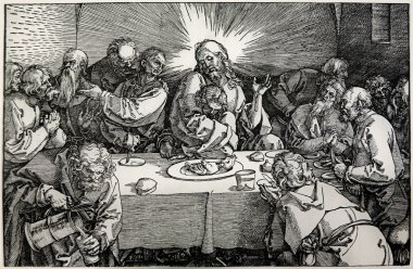 GERMANY - 1928: Lithography of Last supper of Christ by Albert Durer. Book