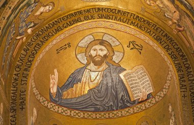 PALERMO - APRIL 8: Mosaic of Jesus Christ from Cappella Palatina - Palatine Chapel in Norman palace in style of Byzantine architecture from years 1132 - 1170 on April 8, 2013 in Palermo, Italy.