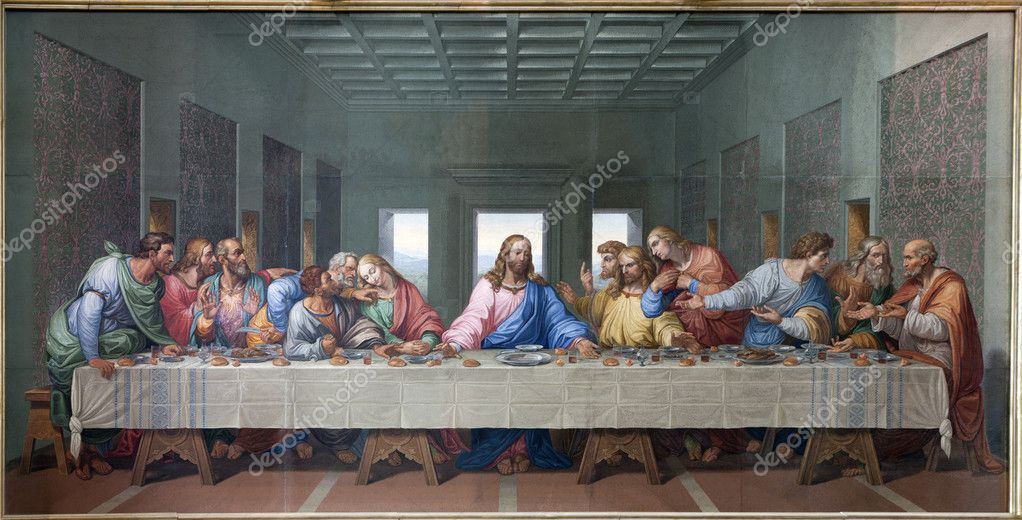 VIENNA - JANUARY 15: Mosaic of Last supper of Jesus by Giacomo Raffaelli from year 1816 as copy of Leonardo da Vinci work on January 15. 2013 in VIenna.
