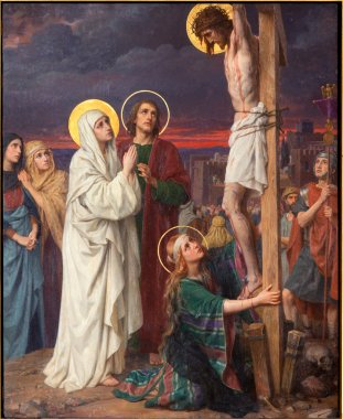 ANTWERP, BELGIUM - SEPTEMBER 5: Paint of Crucifixion as part of Seven Sorrows of Virgin cycle by Josef Janssens from years 1903 - 1910 in the cathedral of Our Lady
