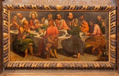 STITNIK, SLOVAKIA - DECEMBER 29, 2013: Pain of Last supper of Jesus on the wood from main altar of gothic evangelical church in Stitnik by Hans von Achen (1636).