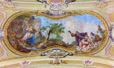 JASOV - JANUARY 2: Fresco of refuge of St. John the Baptist at Massacre of the Innocents by J, L, Kracker (1752 - 1776) on baroque ceiling from cloister in Jasov on January 2, 2014 in Jasov, Slovakia.