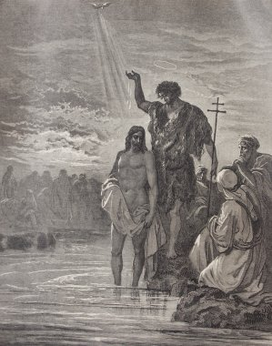 Baptism of Christ illustration from old Bible
