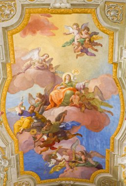 VIENNA, AUSTRIA - FEBRUARY 17, 2014: Virgin Mary in heaven. Fresco over presbytery on the ceiling of baroque st. Annes church by Daniel Gran from year 1751.