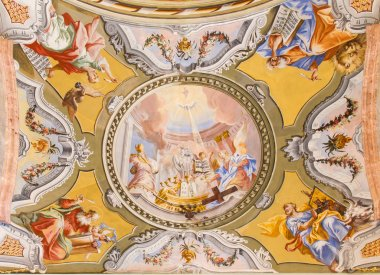 SAINT ANTON, SLOVAKIA - FEBRUARY 26, 2014: Ceiling of chapel in Saint Anton palace with the frescoes by Anton Schmidt from years 1750 - 1752.