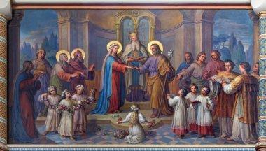 VIENNA, AUSTRIA - FEBRUARY 17, 2014: Wedding of Mary and Joseph fresco  by Josef Kastner from 1906 - 1911 in Carmelites church in Dobling.