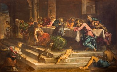 VENICE, ITALY - MARCH 12, 2014: Last supper of Christ (Ultima Cena) by Jacopo Robusti (Tintoretto) from years 1579 - 1580 in church Chiesa di San Stefano.