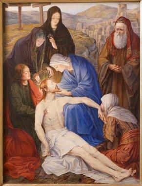 GENT - JUNE 23: Pieta. Paint in st. Peter s church by Rene de Cramer from year 1917 on June 23, 2012 in Gent, Belgium.