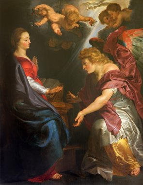 MECHELEN, BELGIUM - JUNE 14, 2014: The Annunciation by Peter Paul Rubens   in st. Johns church or Janskerk.