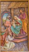 Trnava, Slovensko - 3 března 2014: Magi, vytesán reliéf od boční oltář v kostele jezuitů z 19. cent