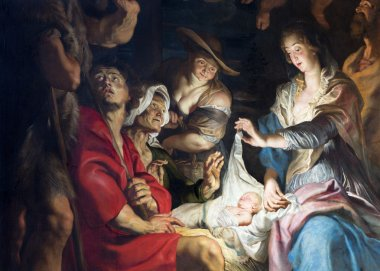 ANTWERP, BELGIUM - SEPTEMBER 5, 2013: Central part of paint of Nativity scene by baroque great painter Peter Paul Rubens in Saint Pauls church (Paulskerk)