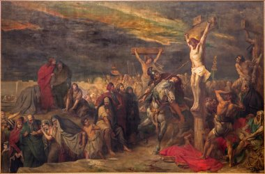 BRUSSELS, BELGIUM - JUNE 15, 2014: The Crucifixion paint by Jean Francois Portaels (1886) in St. Jacques Church at The Coudenberg.