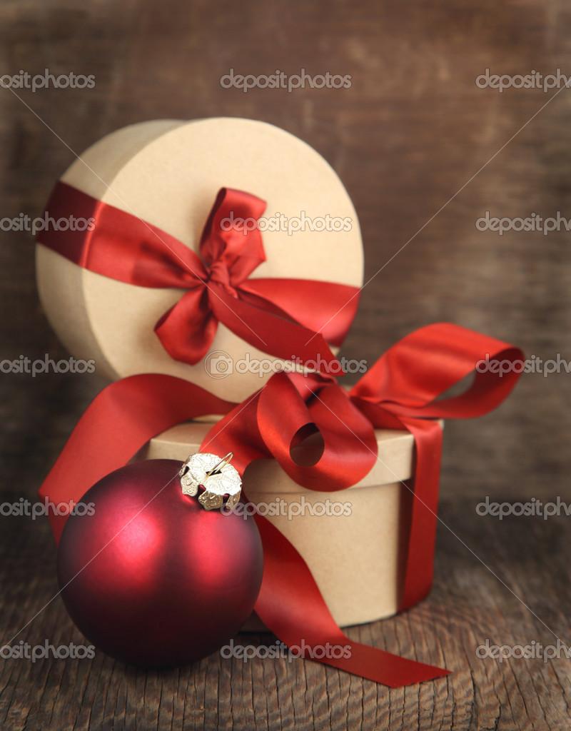 Christmas Card with Christmas ornament and Christmas gifts — Stock ...