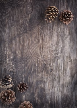 Rustic wood background with pine cones