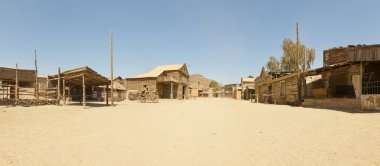 Panoramic photo of the western movie town Fort Bravo. Texas Hollywood. Desierto de Tabernas, Almeria. Andalusia. Spain.
