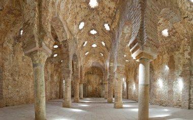 Panoramic photo of old arabic bath house in Ronda. Los banos Arabes. Malaga. Andalusia. Spain.