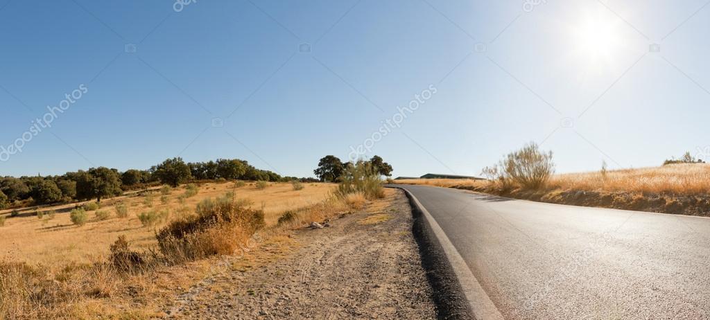 Panoramic landscape photo of road through Sierra de Grazalema national park. Beautiful scenery. Blue sky. Malaga. Andalusia. Spain.