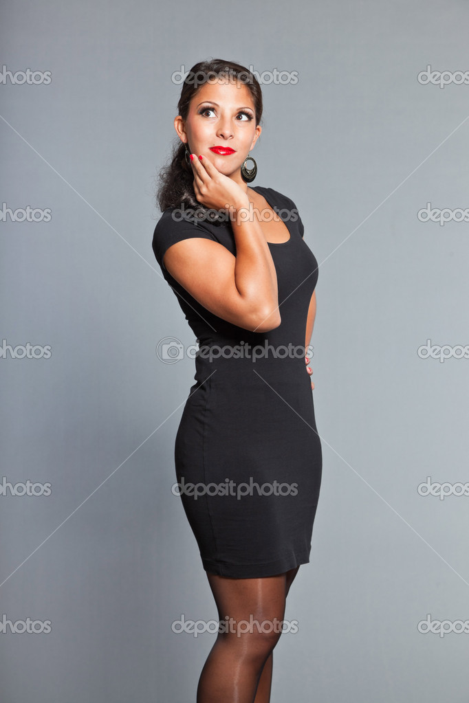 Red lips red nails black dress