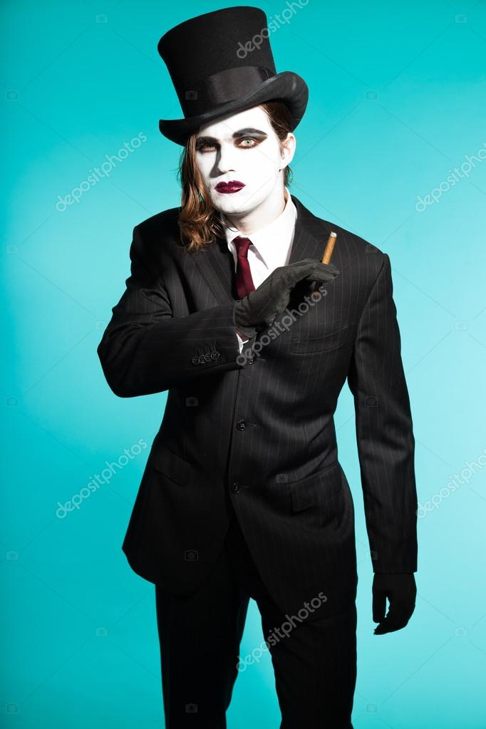 Gothic Vampire Looking Business Man Wearing Black Striped Suit And Dark Red Tie Another Kind