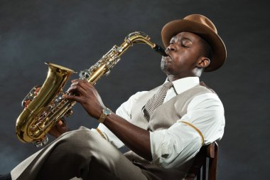 Vintage black african american jazz musician.