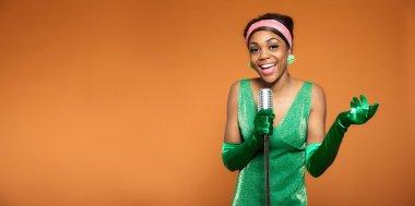 Vintage soul jazz woman singing. Black african american. Copy sp