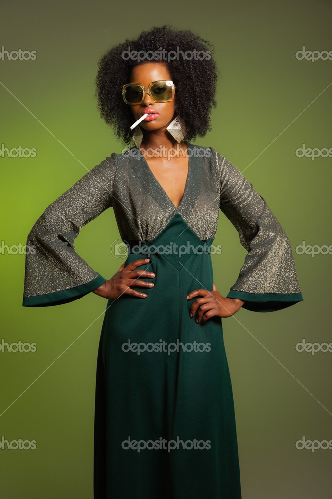 Smoking Retro 70s Fashion Afro Woman With Green Dress And Sungla