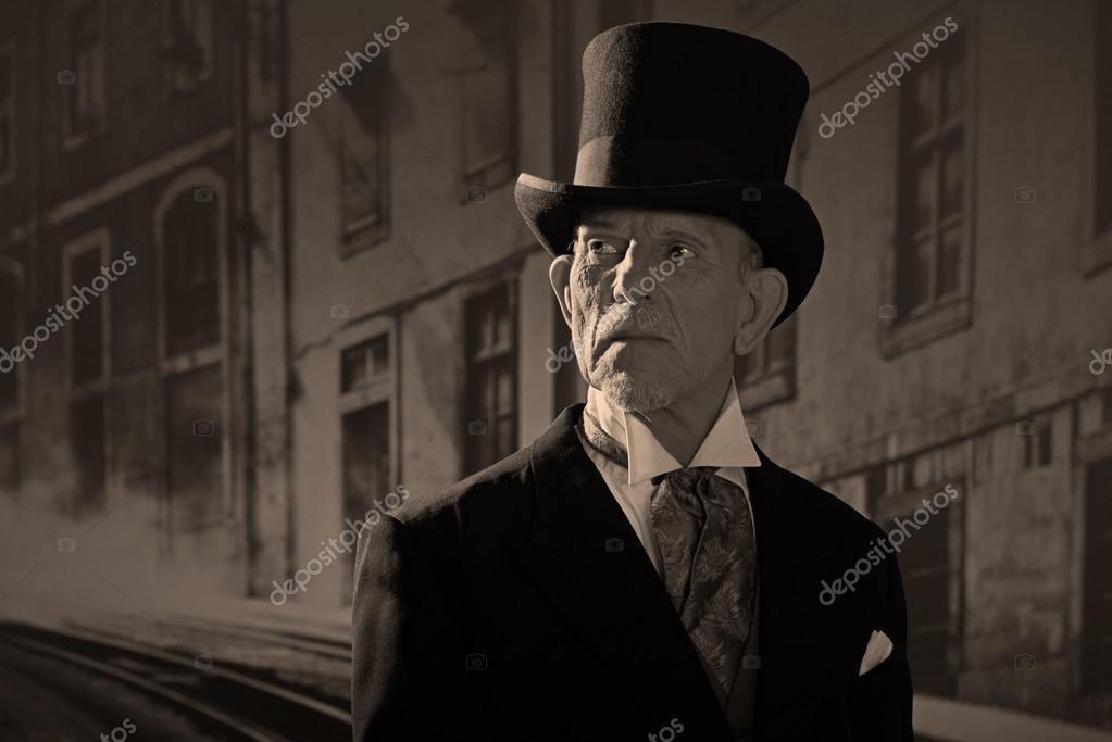 1900 Stil Mann Mit Schwarzem Hut Und Mantel Medizinmann In Dicke