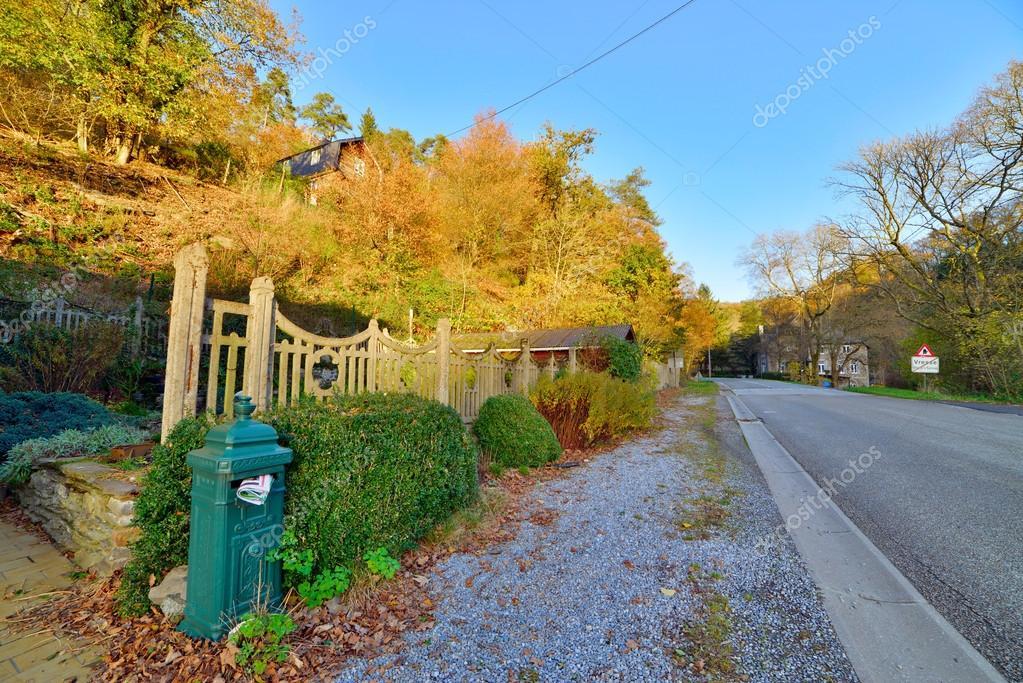 Road in autumn mountain landscape. Vresse sur Semois. Ardennes.