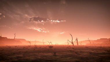 aşırı ürkütücü kuru puslu çöl manzarası ile ölü ağaçlar güneş adlı
