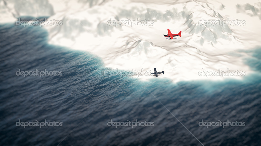 Red airplane flying over iceberg. Aerial shot.