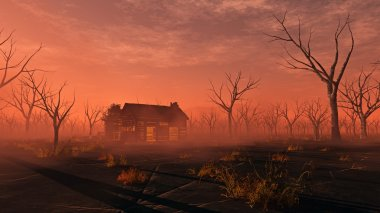 Remote lonely wooden cabin in misty landscape with dead trees. S