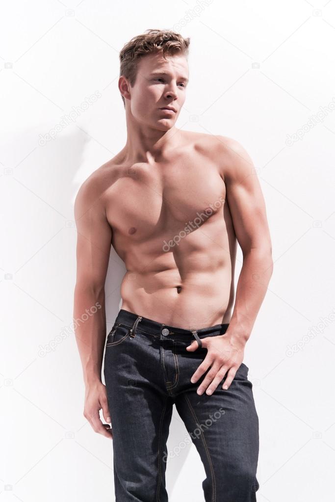 Male Fitness Model Wearing Blue Jeans Blonde Hair