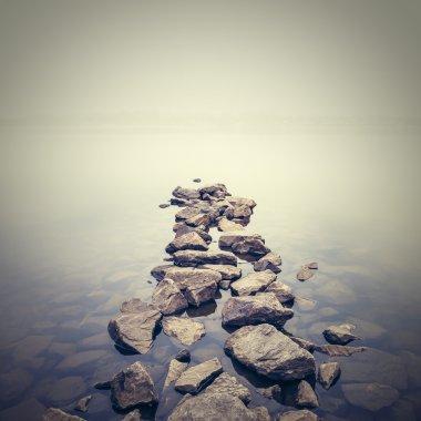 Minimalist misty landscape. Ukraine. stock vector