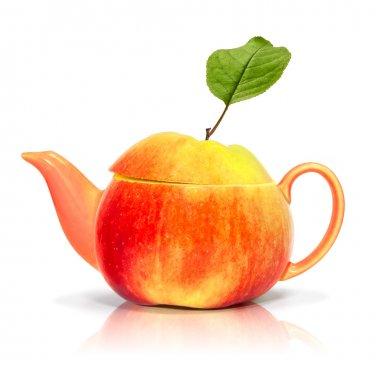 Concept apple tea on a white background
