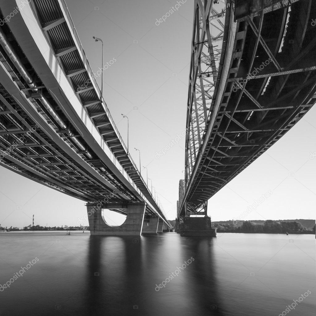 Bridges in Kiev through fisheye lens. Black and white.
