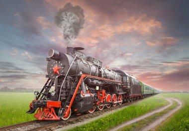 """Картина, постер, плакат, фотообои """"ретро-советский паровоз 3d города"""", артикул 25279039"""