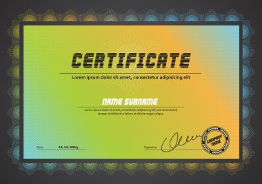 Horizontal certificate template with guilloche pattern and border